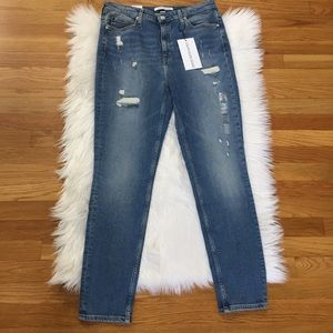 Calvin Klein Distressed High Rise Skinny Jeans